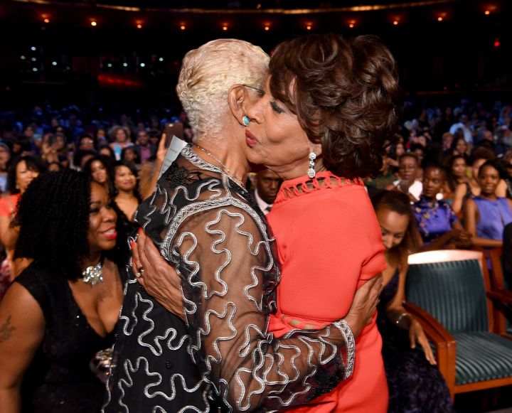 Dionne Warwick and Maxine Waters embrace during Black Girls Rock! 2017.