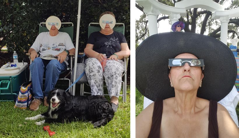 Left: Tom and Bonnie Brown of Virginia Beach show off their DIY eclipse glasses made from paper plates to block the entire fa