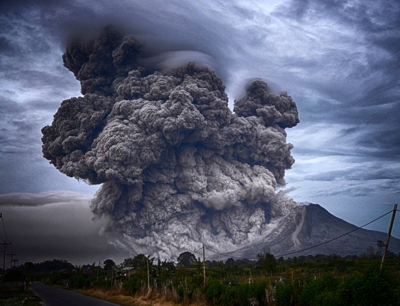 Volcanoes eject carbon dioxide into the atmosphere.