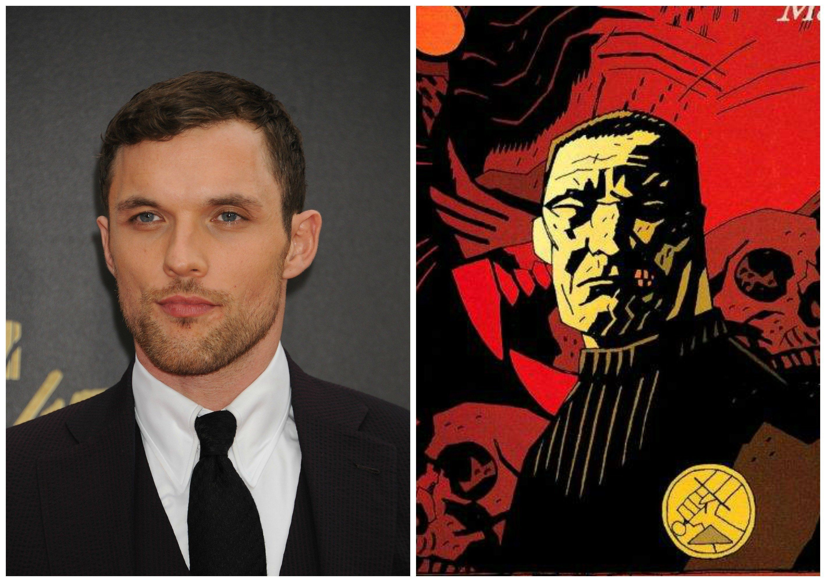 """Ed Skrein, left, has been cast as Major Ben Daimio in """"Hellboy: Rise of the Blood Queen,"""" shown at right on the cover of a """"H"""