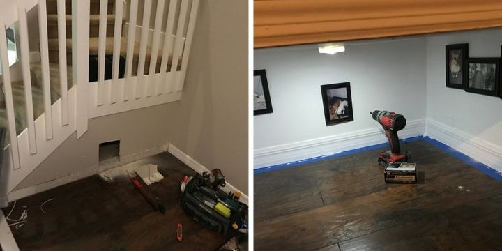 The dog apartment at different stages of the renovation process.