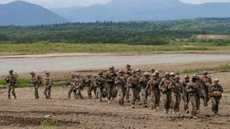 U.S. Marine Corps' members take part in a joint exercise, named Northern Viper 17, with Japan's Ground Self Defense Force at Hokudaien exercise area in Eniwa, on the northern island of Hokkaido, Japan, August 16, 2017.   REUTERS/Toru Hanai     TPX IMAGES OF THE DAY