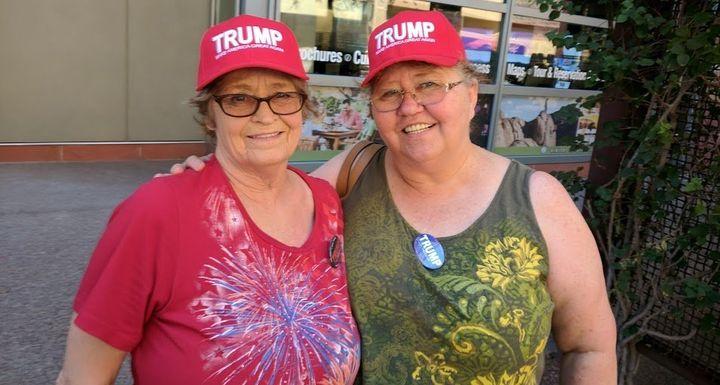 Leslie Rainwater, left, traveled from Texas to see the president speak.