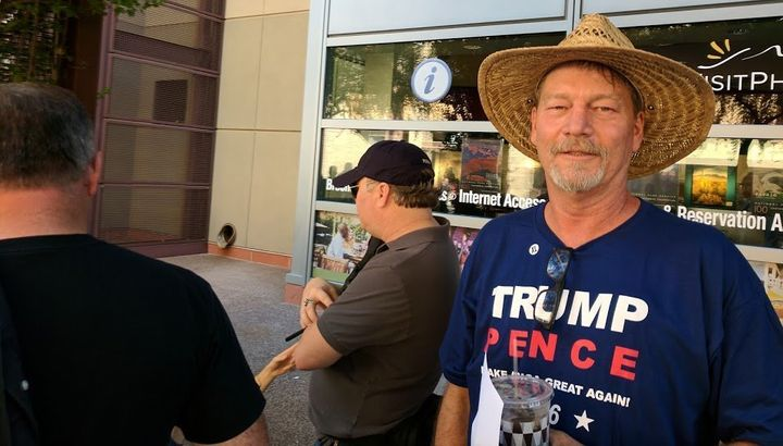 Todd Livingston, 54, lined up Tuesday morning to attend President Donald Trump's rally in Phoenix. Livingston viewed Tr