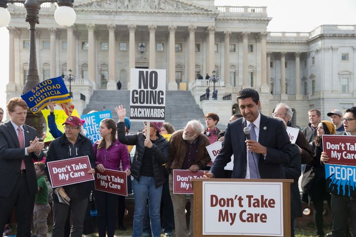 WASHINGTON, DC - MARCH 24: Congressman Ro Khanna speaks at the 'Kill The Bill' Rally To Demand The House GOP Vote 'No' On Tru