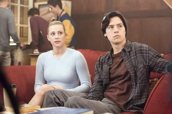 "Lili Reinhart and Cole Sprouse as Betty and Jughead in ""Riverdale."""