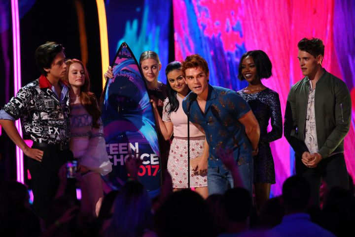 "The cast of ""Riverdale"" accepts their award for Choice Drama TV Show at the 2017 Teen Choice Awards."