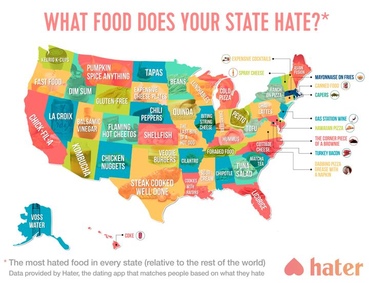This map shows which food people hate the most in each state hater sciox Gallery