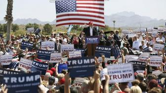 Then-Republican US presidential candidate Donald Trump speaks at a campaign rally in Fountain Hills Ariz March 19 2016