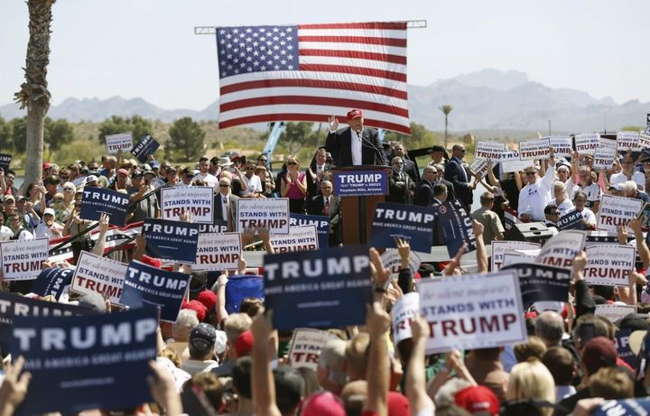 Then-Republican U.S. presidential candidate Donald Trump speaks at a campaign rally in Fountain Hills, Ariz., March 19, 2016.