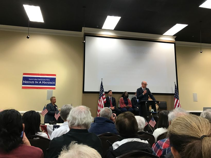 Needles in a Haystack Forum for Democratic Candidates for Georgia's 6th District in Roswell, Georgia, 2017. L to R. Jon Ossof