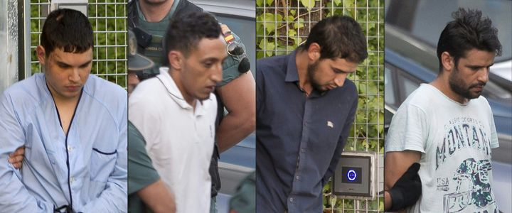 The Barcelona terror attack suspects (from left) Mohamed Houli Chemlal, Driss Oukabir, Salah El Karib, and Mohamed Aallaa