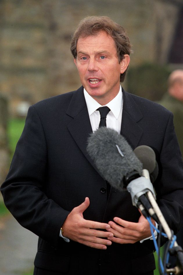 Prime Minister Tony Blair addresses the nation from his home village at Trimdon near Newcastle following...