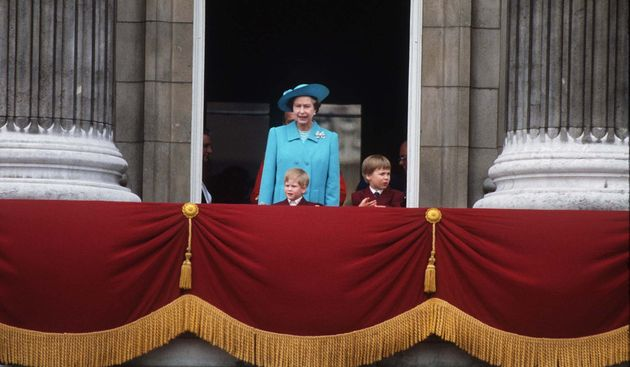 The Queen with the princes at Buckingham Palace for the Trooping of the Colour in
