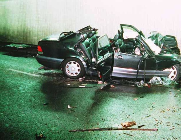 The wreckage of the Mercedes carrying the princess, Fayed, Rees-Jones and