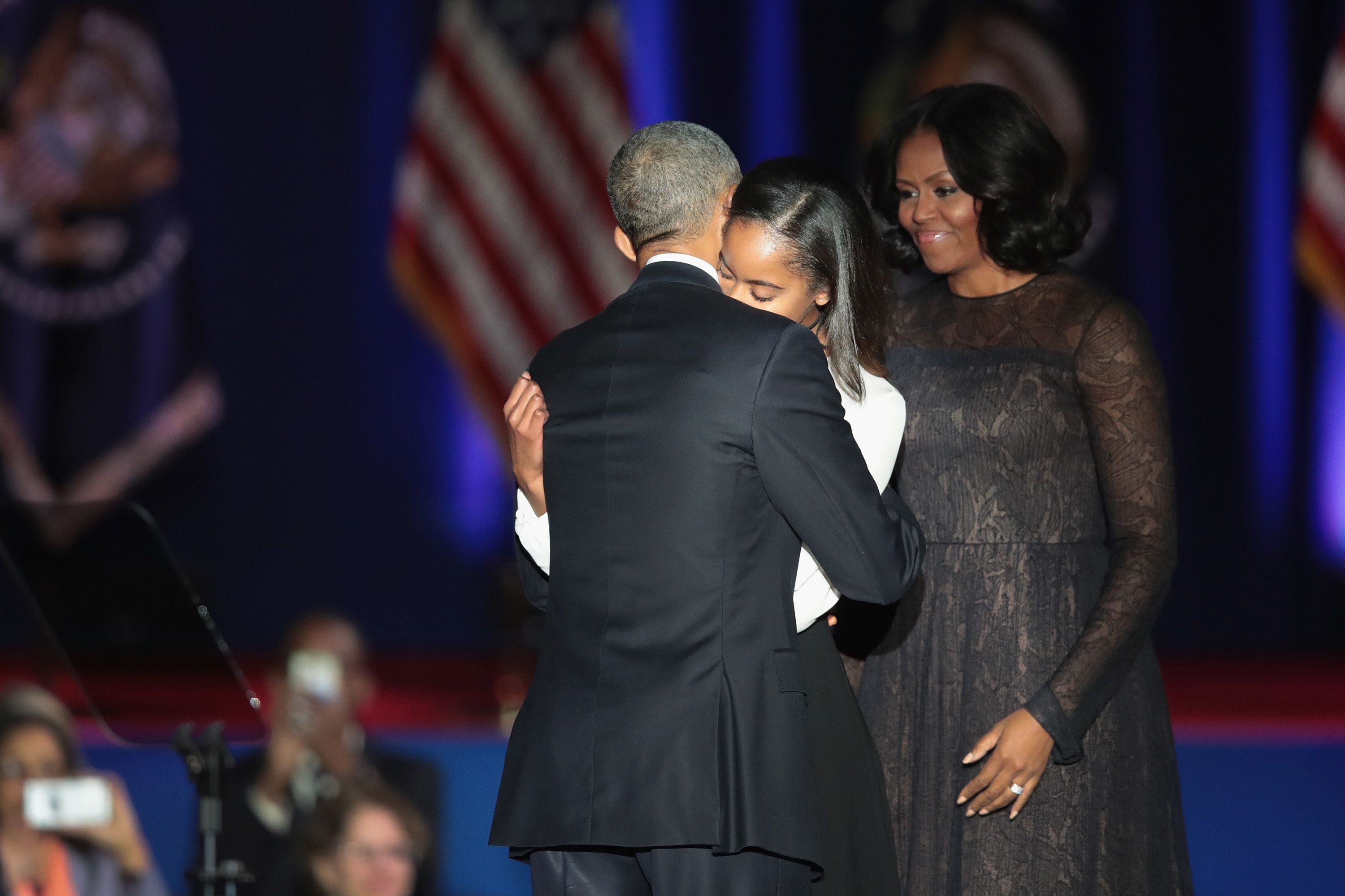 CHICAGO, IL - JANUARY 10:  President Barack Obama greets his wife Michelle and daughter Malia following his farewell speech to the nation on January 10, 2017 in Chicago, Illinois. President-elect Donald Trump will be sworn in the as the 45th president on January 20.  (Photo by Scott Olson/Getty Images)
