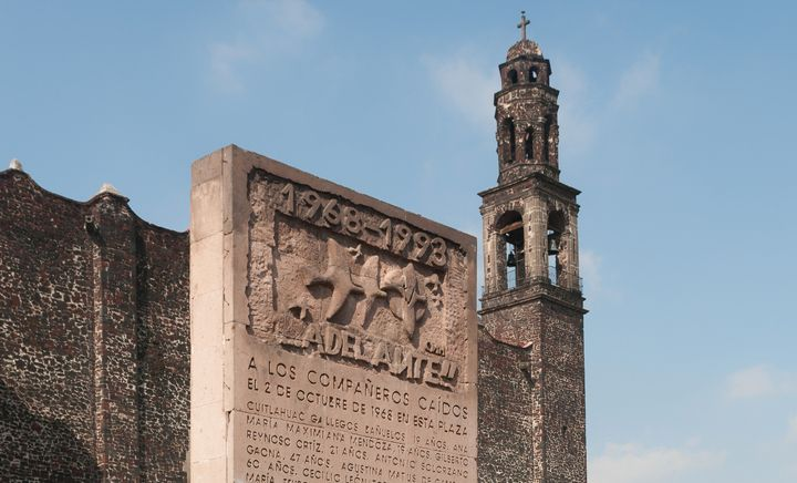 A memorial to the 1968 Tlatelolco Massacre stands in Mexico City.