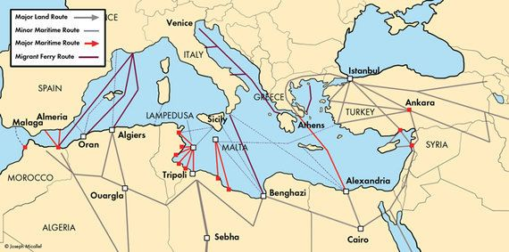 A map showing the Mediterranean migrant routes from Africa and the Middle East into