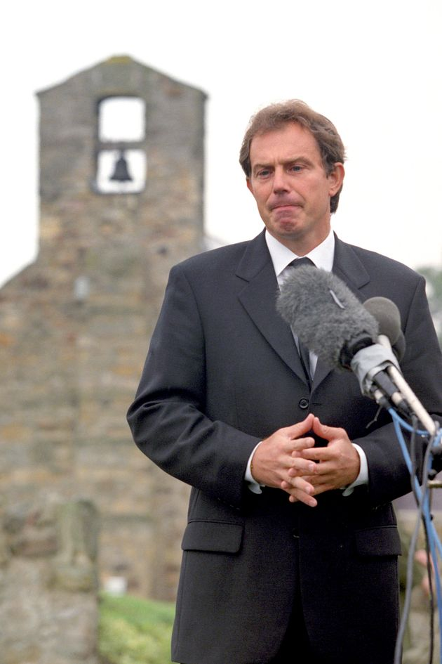 Prime Minister Tony Blair addresses the nation from his home village in Trimdon near Newcastle. It was...
