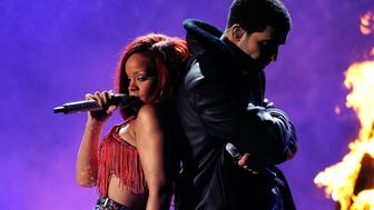 Singers Rihanna and Drake onstage during The 53rd Annual GRAMMY Awards held at Staples Center on February 13, 2011 in Los Angeles, California.
