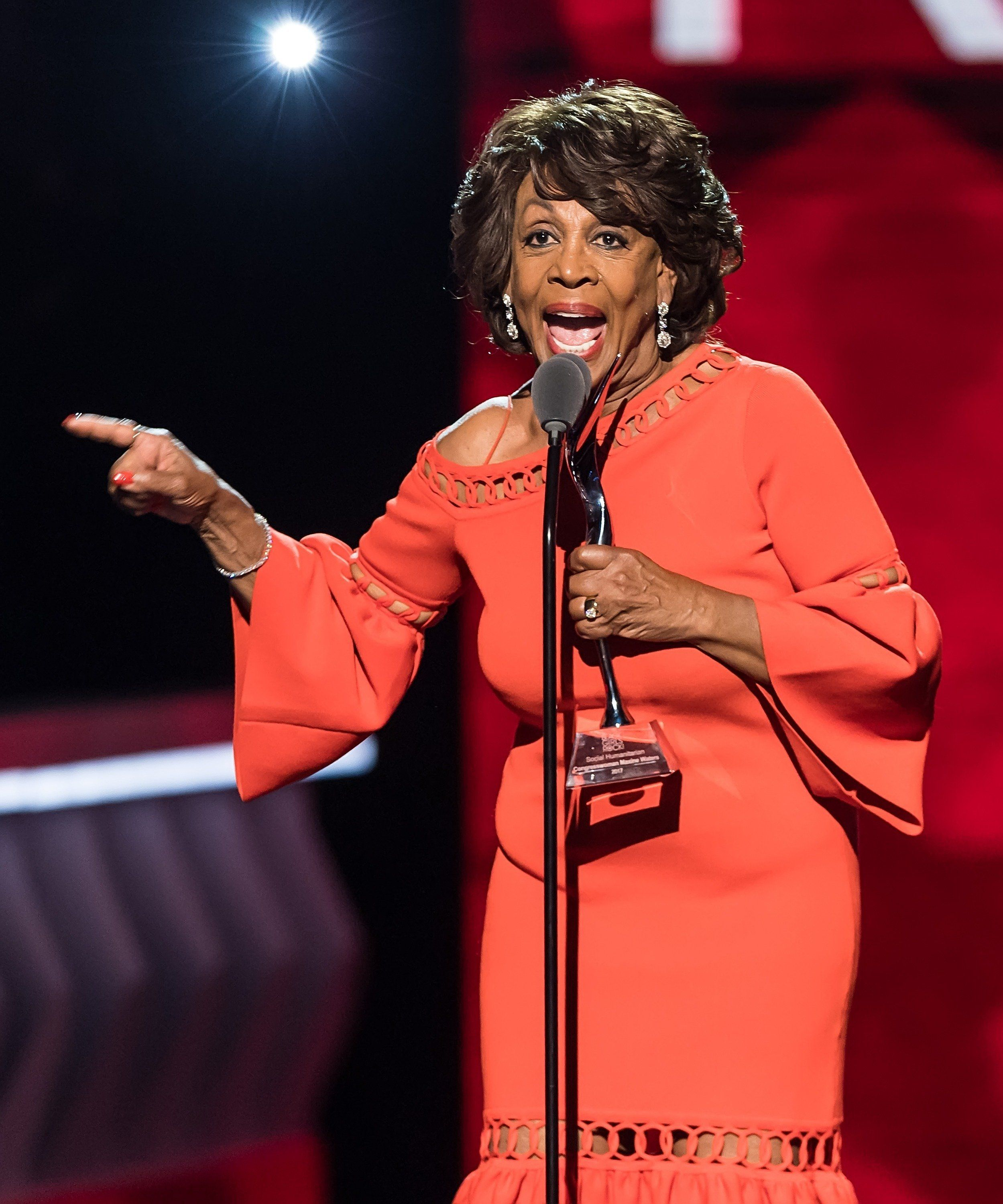 NEWARK, NJ - AUGUST 05:  U.S. Representative for California's 43rd congressional district Maxine Waters  accepts her award onstage during Black Girls Rock! 2017 at New Jersey Performing Arts Center on August 5, 2017 in Newark, New Jersey.  (Photo by Gilbert Carrasquillo/FilmMagic)