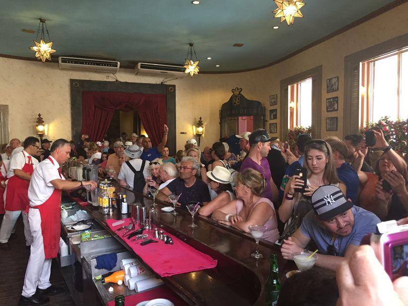Crazed gringoes at El Floridita, Hemingway's bar.