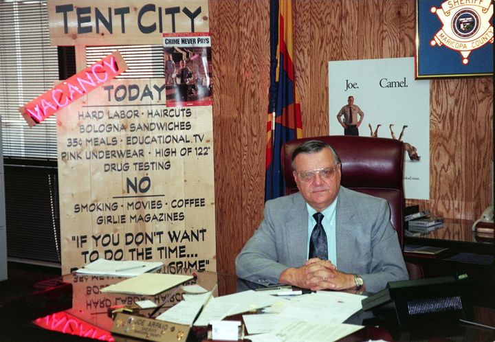 "As sheriff, Arpaio established -- and showed off to the media -- a ""tent city"" prison camp."