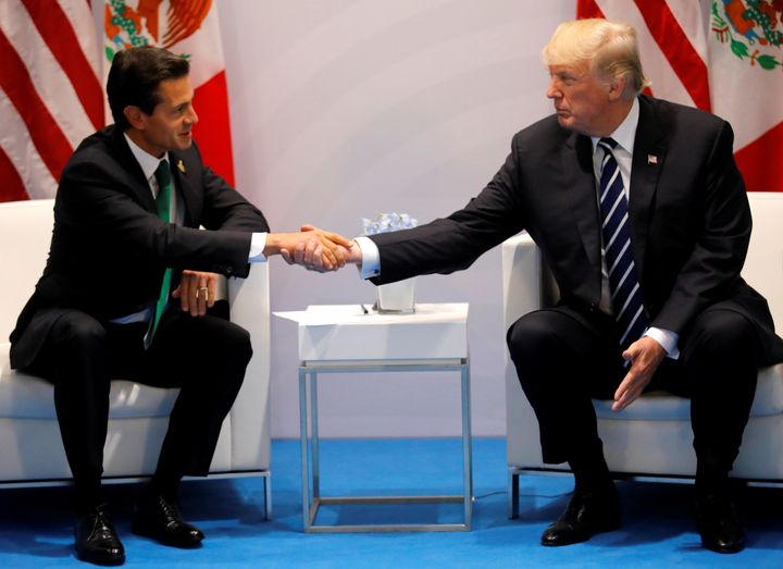Trump shakes hands with Mexico's President Enrique Pena Nieto during abilateral meeting at the G-20 summit in Hamburg,