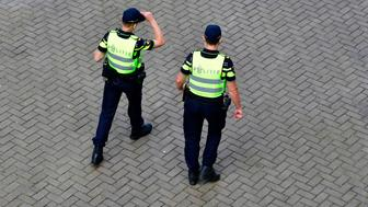 Dutch police patrols next to the venue prior to the start of the UEFA Women's Euro 2017 football tournament between Scotland and Portugal at the Stadium Sparta Rotterdam in Rotterdam on July 23, 2017.  / AFP PHOTO / TOBIAS SCHWARZ        (Photo credit should read TOBIAS SCHWARZ/AFP/Getty Images)