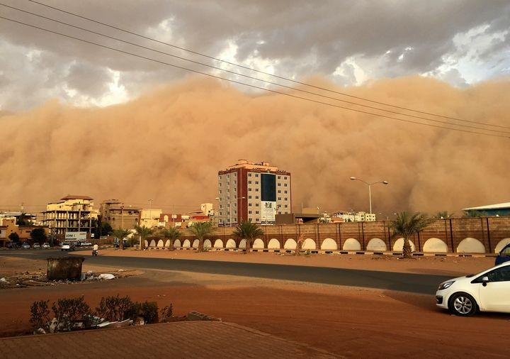 A general view of the city during the Sand storm in Khartoum, Sudan on June 1, 2017. (
