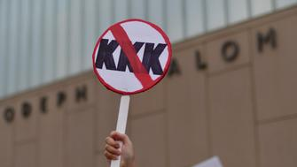 A banner anti KKK is seen during march Against Hate Held In Philadelphia In Wake Of Charlottesville, on August 16, 2017.  Demonstrations are being held following clashes between white supremacists and counter-protestors in Charlottesville, Virginia over the weekend. Heather Heyer, 32, was killed in Charlottesville when a car allegedly driven by James Alex Fields Jr. barreled into a crowd of counter-protesters following violence at the Unite the Right rally. (Photo by Bastiaan Slabbers/NurPhoto via Getty Images)
