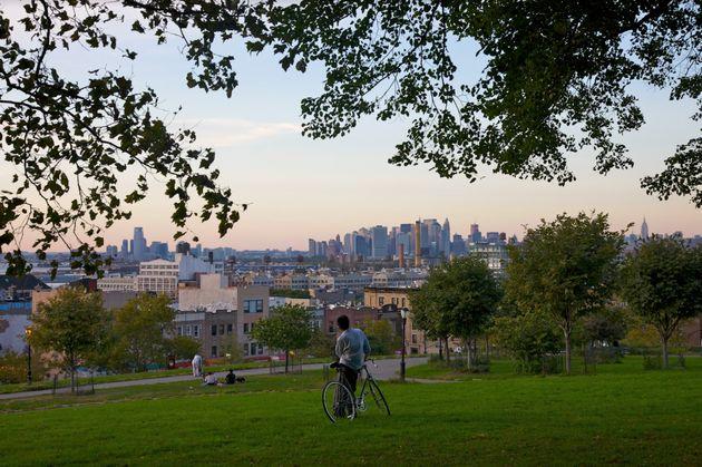 Sunset Park offers spectacular views of the Manhattan