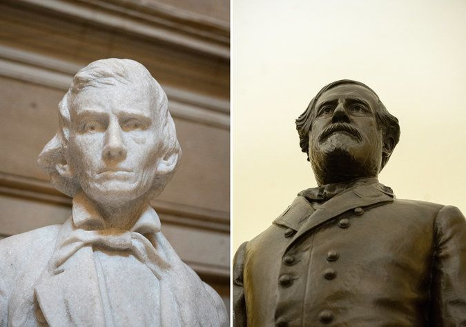 Statues of Alexander Stephens, Vice-President of the Confederacy (L) and Confederate General Robert E. Lee (R), on display in