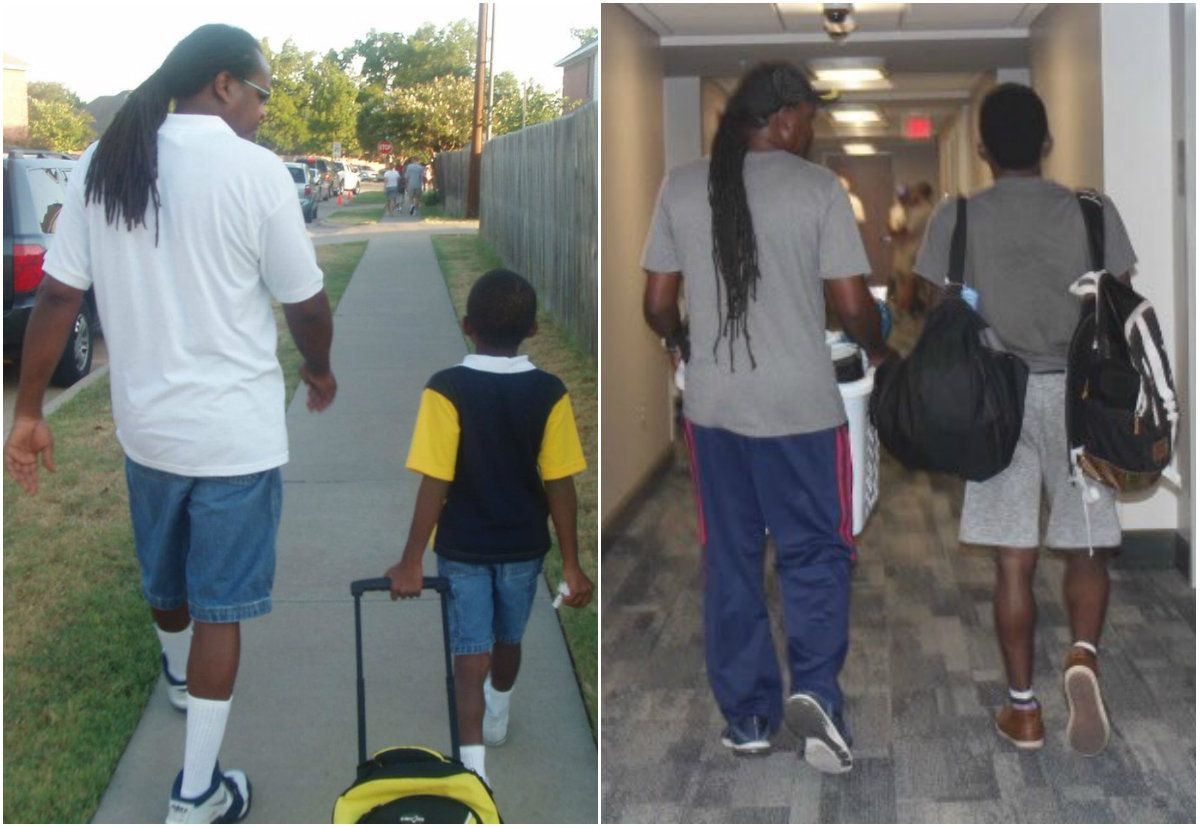 Charles Brockman III (right in both photos) shared these sweet photosthat show him and his dad on his first day of kindergarten andon the day he moved into his college dorm.