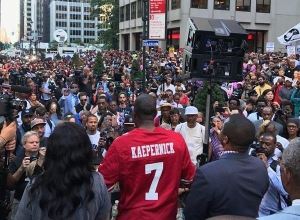 Protestors at NFL Headquarters in support of Colin Kaepernick