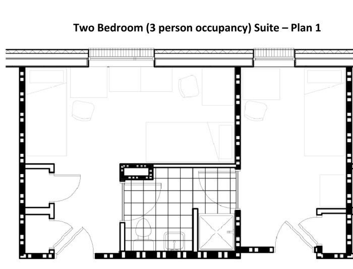 Floor plan of a Patton Hall suite (Courtesy of GSU)