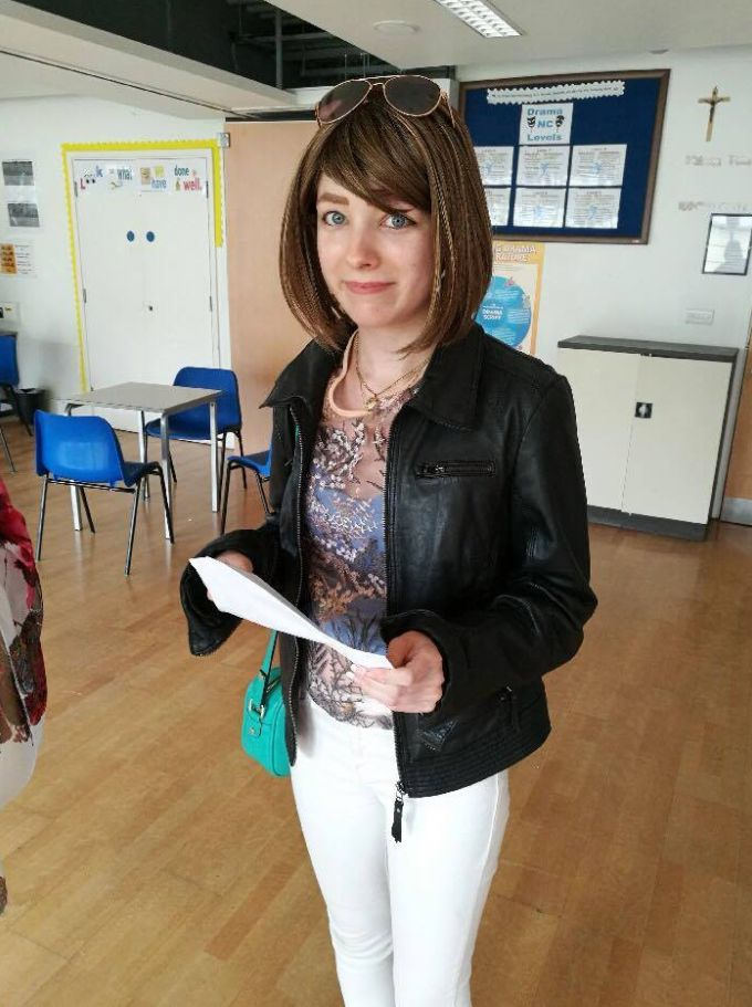 Kelly Turner has celebrated a string of top grades after sitting her GCSE results while battling