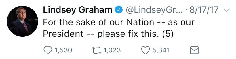 Senator Lindsey Graham (R-SC) attempted to appeal to President Trump, via Twitter, with logic and reason following the Presid