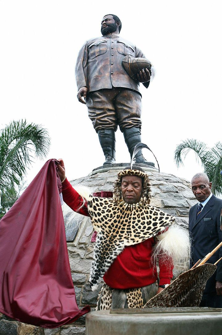 Zulu King Goodwill Zwelithini ka Bhekuzulu at the statue of his great uncle, Zulu King Dinuzulu, in Durban, South Africa