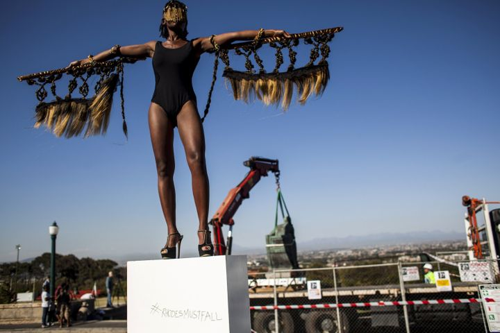 A protestor at the University of Cape Town as the Rhodes statue is removed on April 9, 2015.