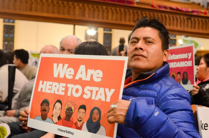 Immigrants rally in January, days before Donald Trump took office.