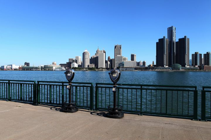 The Detroit, Michigan, skyline as photographed from the Windsor riverfront.