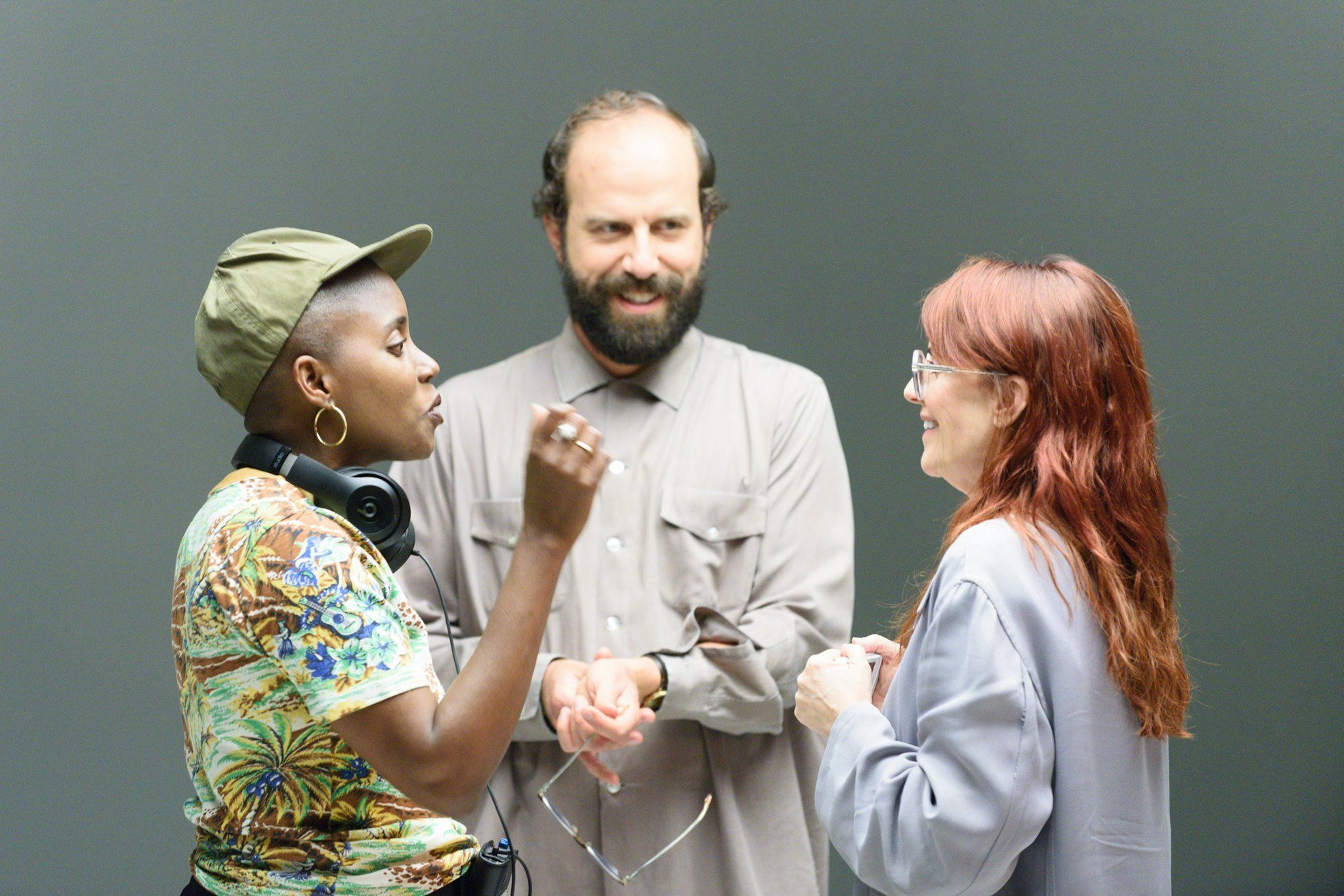 "Director Janicza Bravo on the set of ""Lemon."""