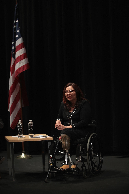 Sen. Tammy Duckworthflew Black Hawk helicopters during the Iraq War.