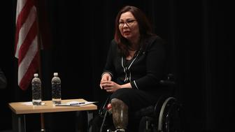 PALATINE, IL - APRIL 11:  U.S. Senator Tammy Duckworth (D-IL) speaks during a town hall meeting on April 11, 2017 in Palatine, Illinois. Duckworth, who defeated Senator Mark Kirk (R-IL) in 2016, is the junior senator from Illinois.  (Photo by Scott Olson/Getty Images)