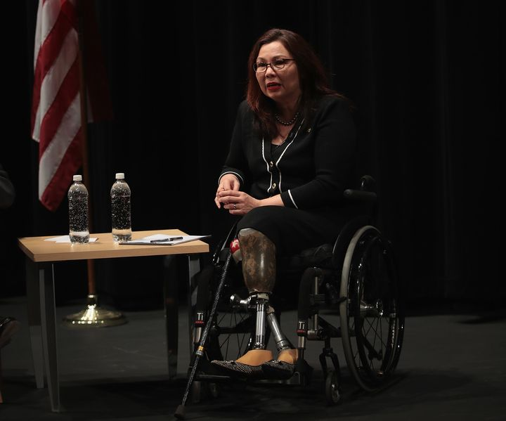 Sen. Tammy Duckworth flew Black Hawk helicopters during the Iraq War.