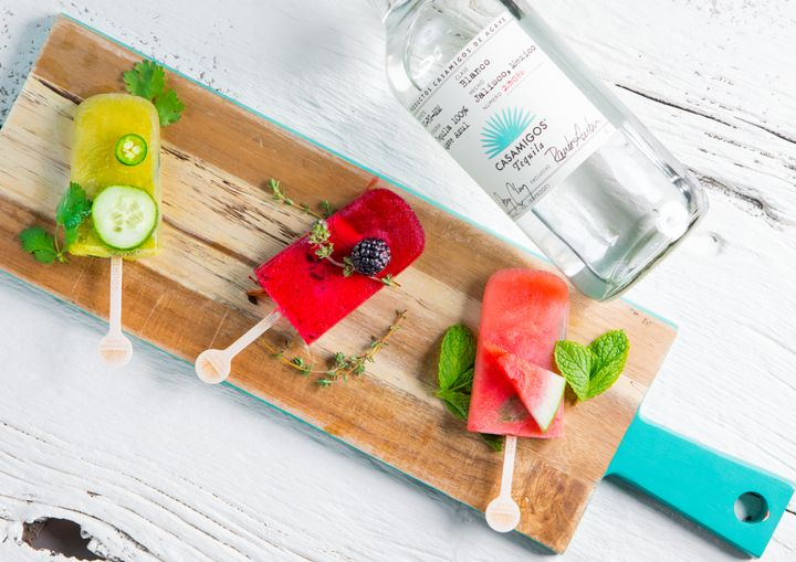 <p>Three spirits popsicles using George Clooney &amp; Rande Gerber's award-winning Casamigos Tequila</p>