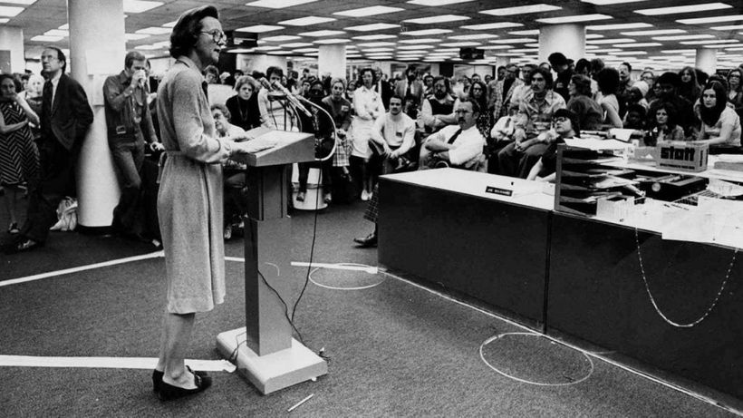 Katharine Graham addresses the Post newsroom during the pressmen's strike.
