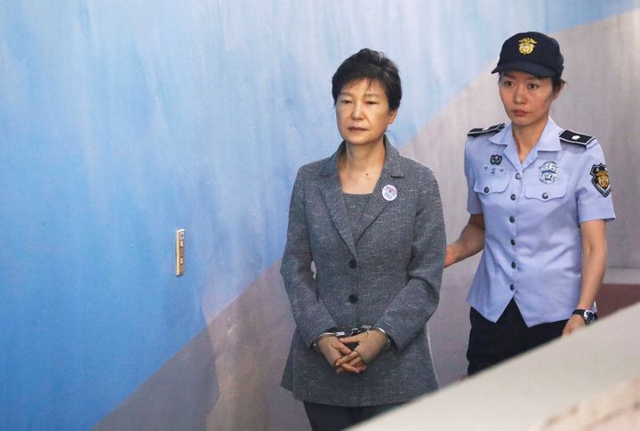 South Korean ousted leader Park Geun-hye arrives at a court in Seoul, South Korea, August 25, 2017.