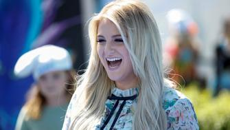 """Actor and singer Meghan Trainor, who voices the Melody character, poses at the premiere of the film """"Smurfs: The Lost Village"""" in Culver City, California, April 1, 2017. REUTERS/Danny Moloshok"""